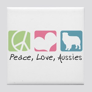 Peace, Love, Aussies Tile Coaster