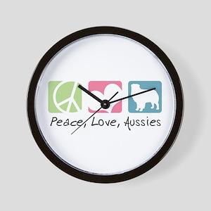 Peace, Love, Aussies Wall Clock