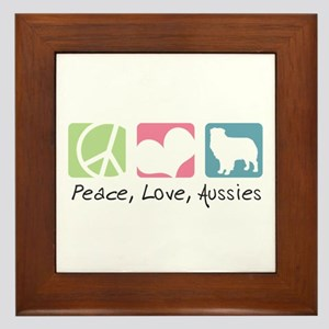 Peace, Love, Aussies Framed Tile