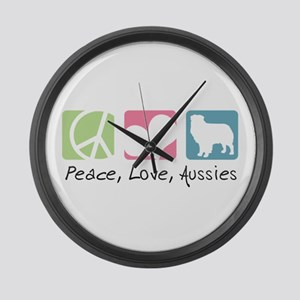 Peace, Love, Aussies Large Wall Clock