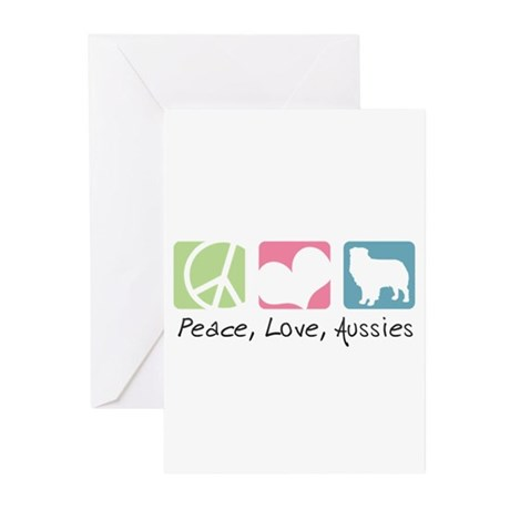 Peace, Love, Aussies Greeting Cards (Pk of 10)