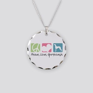 Peace, Love, Greyhounds Necklace Circle Charm