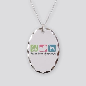 Peace, Love, Greyhounds Necklace Oval Charm