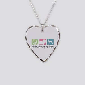 Peace, Love, Greyhounds Necklace Heart Charm