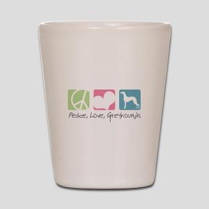 Peace, Love, Greyhounds Shot Glass
