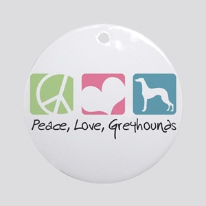 Peace, Love, Greyhounds Ornament (Round)