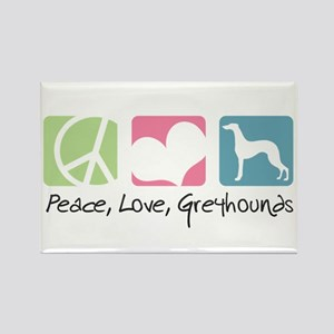 Peace, Love, Greyhounds Rectangle Magnet
