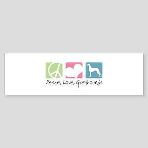Peace, Love, Greyhounds Sticker (Bumper)
