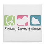 Peace, Love, Maltese Tile Coaster