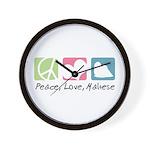 Peace, Love, Maltese Wall Clock