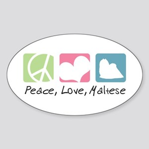 Peace, Love, Maltese Sticker (Oval)