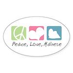 Peace, Love, Maltese Sticker (Oval 10 pk)
