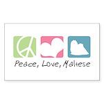 Peace, Love, Maltese Sticker (Rectangle 50 pk)