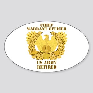 Army - Emblem - CWO Retired Sticker (Oval)