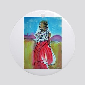 African, Lady, Colorful, art, Ornament (Round)