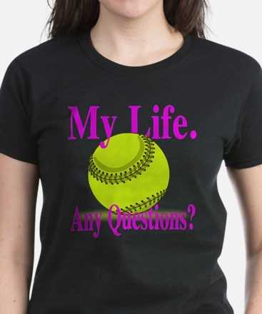 Girls Softball Women's Dark T-Shirt