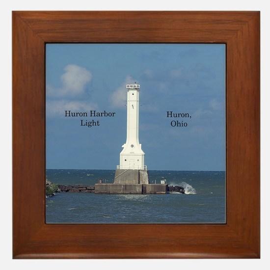 Huron Harbor Light Framed Tile