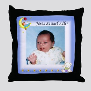 Boy on Moon Personalized Throw Pillow - Custom