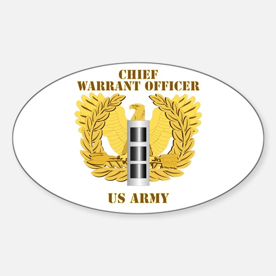 Army - Emblem - Warrant Officer CW3 Sticker (Oval)