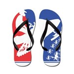 Red White Snowmobile Flip Flops