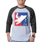 Red White Snowmobile Mens Baseball Tee