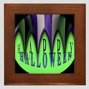 Green Halloween Stripes Framed Tile