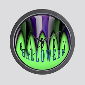 Green Halloween Stripes Wall Clock