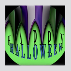Green Halloween Stripes Tile Coaster