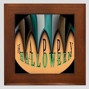 Orange Halloween Teeth Framed Tile