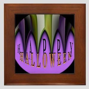 Purple Halloween Teeth Framed Tile