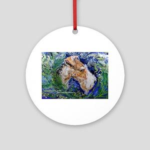 Fox Terrier in Blue Ornament (Round)