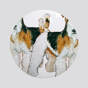 Double Trouble Wire Fox Terri Ornament (Round)