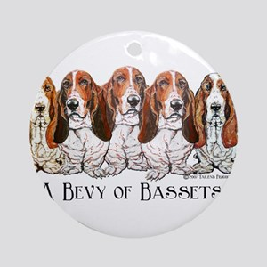 Basset Hound Bevy Ornament (Round)