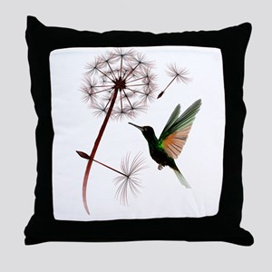 Dandelion and Little Green Hu Throw Pillow
