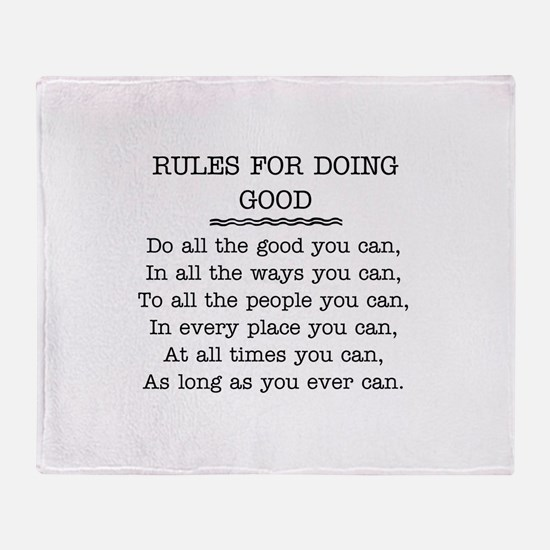 RULES FOR DOING GOOD Throw Blanket