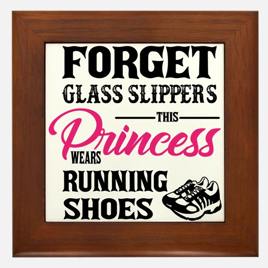 This Princess Wears Running Shoes Framed Tile