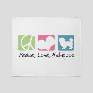 Peace, Love, Maltipoos Throw Blanket