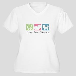 Peace, Love, Maltipoos Women's Plus Size V-Neck T-