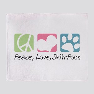 Peace, Love, Shih-Poos Throw Blanket