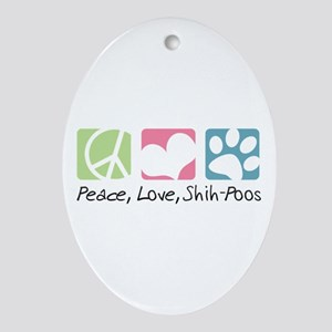 Peace, Love, Shih-Poos Ornament (Oval)
