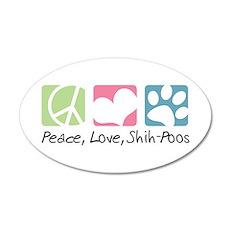 Peace, Love, Shih-Poos 22x14 Oval Wall Peel
