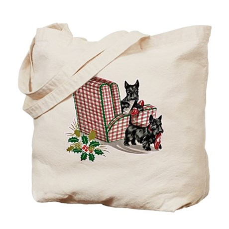 Scottie Dog Christmas Tote Bag