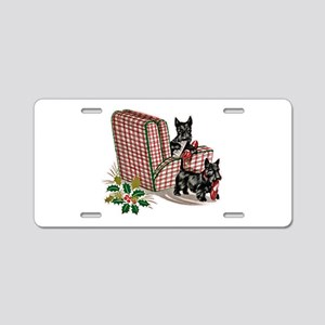 Scottie Dog Christmas Aluminum License Plate