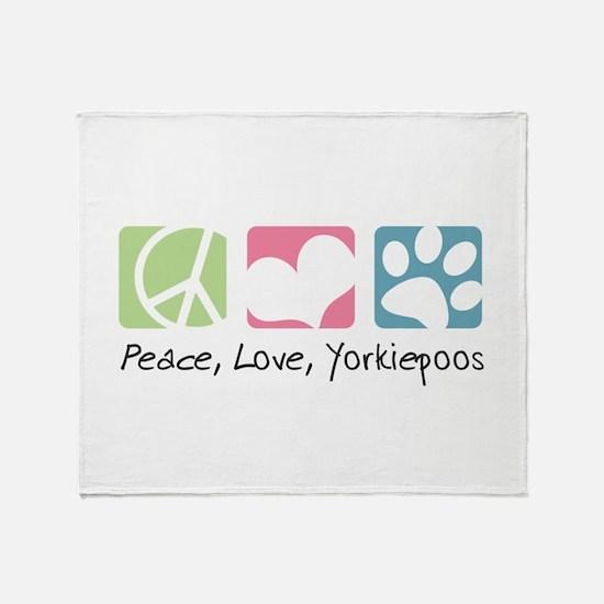Peace, Love, Yorkiepoos Throw Blanket
