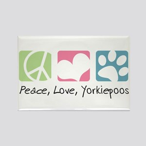 Peace, Love, Yorkiepoos Rectangle Magnet
