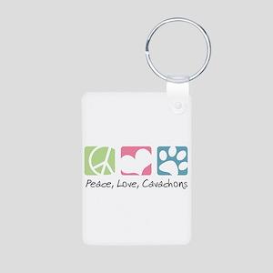 Peace, Love, Cavachons Aluminum Photo Keychain
