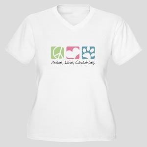 Peace, Love, Cavachons Women's Plus Size V-Neck T-