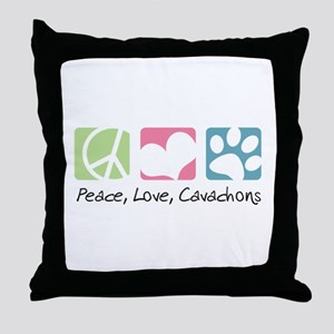 Peace, Love, Cavachons Throw Pillow