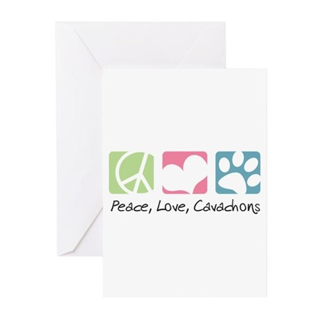 Peace, Love, Cavachons Greeting Cards (Pk of 10)