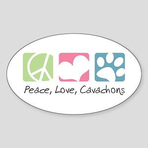 Peace, Love, Cavachons Sticker (Oval)